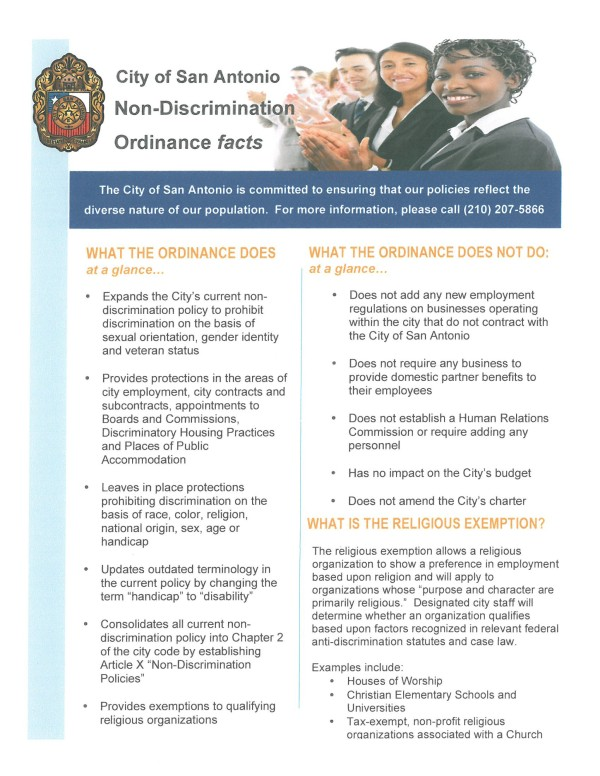 City of San Antonio NDO fact sheet draft, 2013