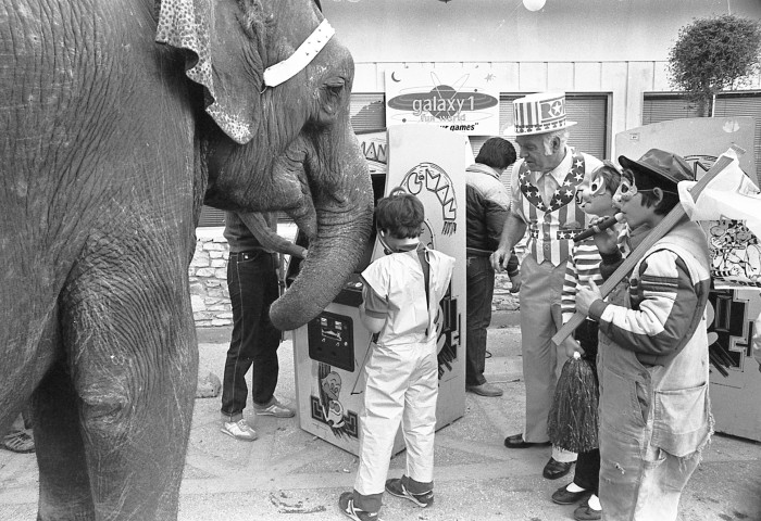 """Dumbo"" the elephant at Halloween party at new game center in Alamo KOA Kampground, 1982. (San Antonio Express-News Collection, MS 360: E-0123-083)"