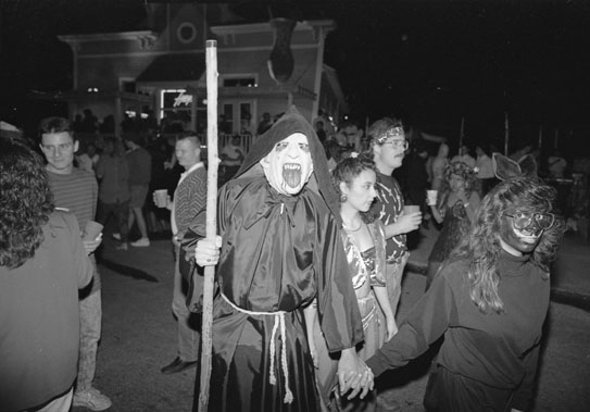 Halloween block party on North St. Mary's Street, 1990. (San Antonio Light Collection, MS 359: L-7303-068-05)