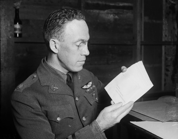Maj. Dargue, pioneer military aviator, holds letters of good will, from President Calvin Coolidge, to be delivered to the leaders of the 19 countries on the flight itinerary. (MS 359: L-0737-C)