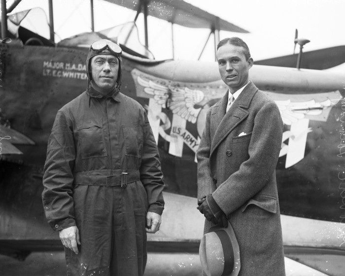 Maj. Herbert A. Dargue, commander of the flight, and Grover C. Loening, designer of the planes and president of Loening Aeronautical Engineering Company, Duncan Field, December 1926. (MS 359: L-0737-J)