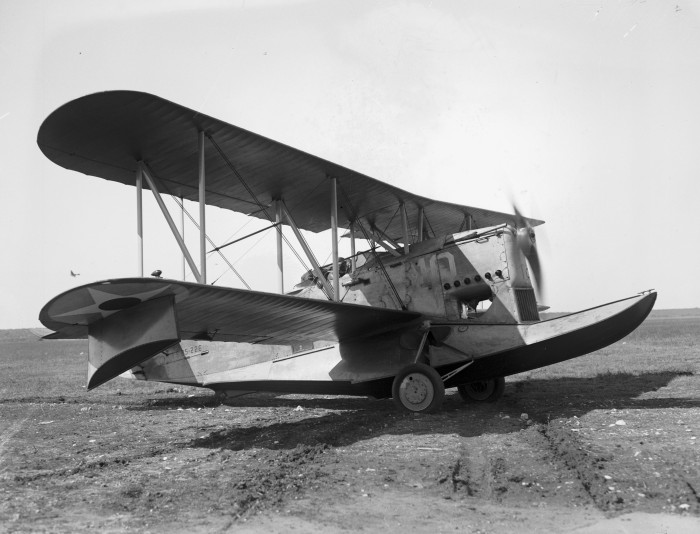 Loening OA-1A, airplane of choice for the trip, was a two-seat biplane with features of both a seaplane and landplane, Duncan Field, December 1926. (MS 359: L-0739-K)