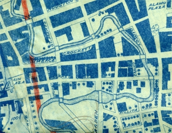"Map of San Antonio River showing proposed cut-off (in red) of the ""Great Bend"" from the Report of the Engineers Sub-Committee on Proposed Flood Prevention Work, San Antonio, Texas, 1922"
