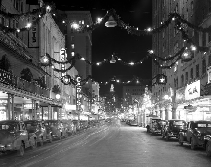 Houston Street looking east from St. Mary's Street, 1947. (Zintgraff Studio Photograph Collection, MS 355: 0364-A-01)