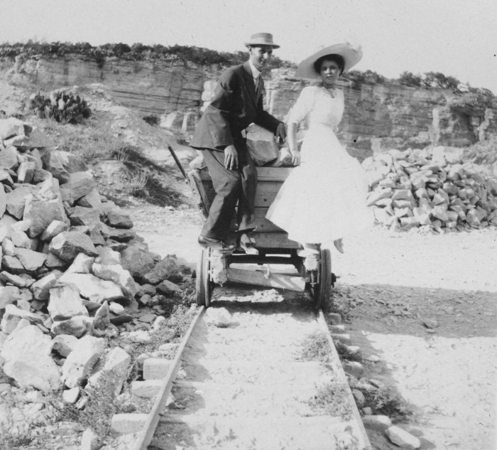 Charles H. Brewster and Olive Nesbitt in the limestone quarry that later became the site of the San Antonio Zoo, circa 1910. (MS458: 115-0360)