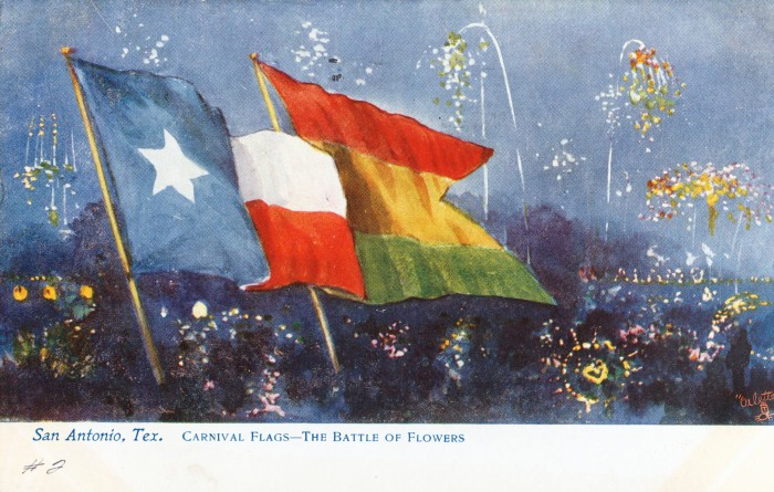 State and Spring Carnival flags against background of a fireworks exhibition, held at San Pedro Park baseball field during Carnival Week. (MS 362: 097-0900)