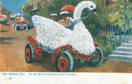 Swan car with fanciful background. (MS 362: 097-0902)