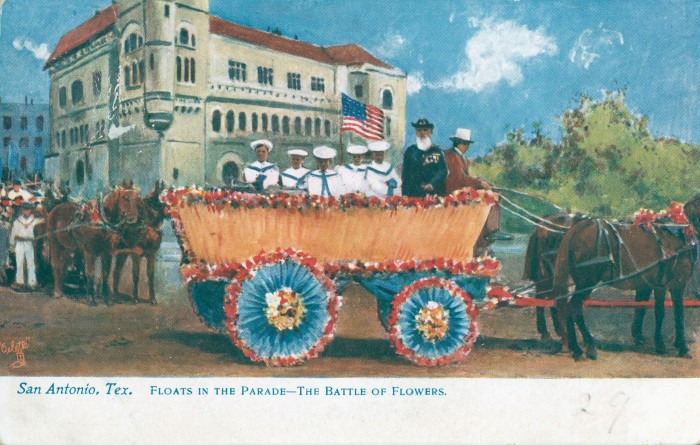Float representing a boat in the Spanish American War. In the background is the Federal Courthouse and Post Office on the north side of Alamo Plaza. (MS 362: 097-0903)