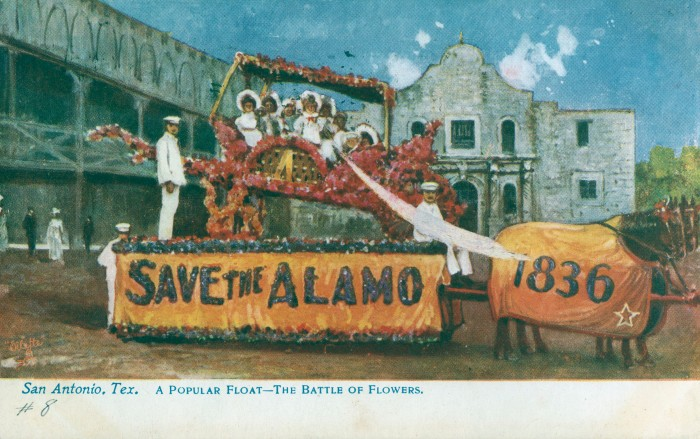 Tuck and Sons used artistic license to transport Joske's float from a street outside a boarding house to a better location directly in front of the Alamo. (MS 362: 097-0904)