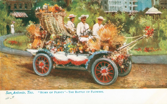 Men in automobile on the south side of the park in Alamo Plaza. The artist replaced the trees with dense shrubbery. (MS 362: 097-0905)