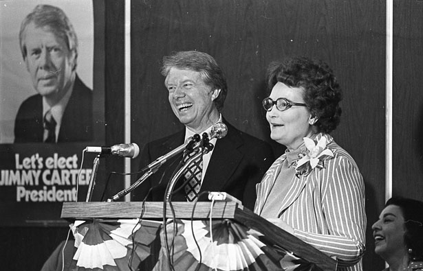 Presidential candidate Jimmy Carter at podium with Mayor Lila Cockrell, July 30, 1976 (San Antonio Express-News Collection, MS 360: E-0038-131-41)