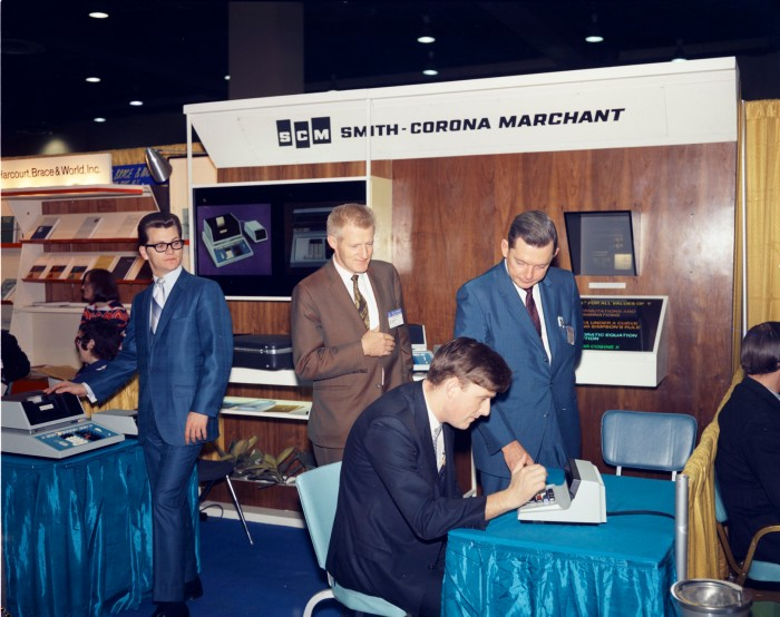 Smith-Corona Marchant exhibit during convention of the American Mathematical Society and Mathematical Association of America, January 1970. (Zintgraff Studio Photograph Collection, MS 355: Z-0491-A-39-15)