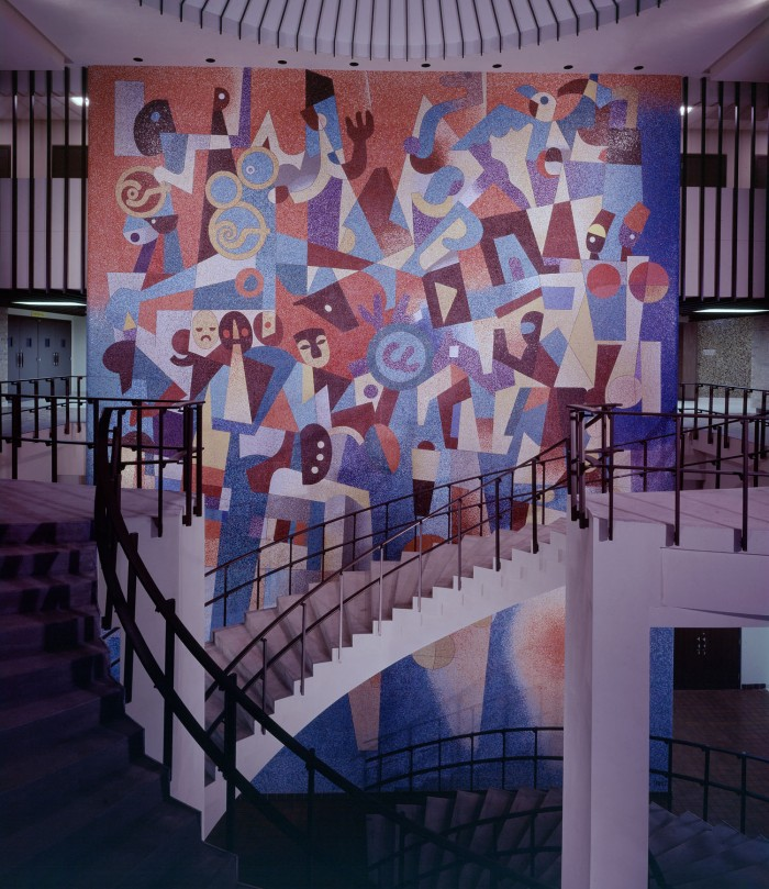 Mural, by Carlos Merida, opposite the east entrance to the Exhibit Hall, ca. 1968. The mural has been preserved in place and will be incorporated into a new structure. (Zintgraff Studio Photograph Collection, MS 355: Z-1102-1064-A)