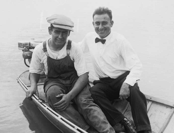 "Skipper Will Levin (right) and his chief engineer, Leroy Lanning, practice on Woodlawn Lake in Levin's 18 foot craft, ""The Eagle,"" with a semi-V bottom reinforced with sheet metal, August 1926. (MS 359: L-0676-E)"
