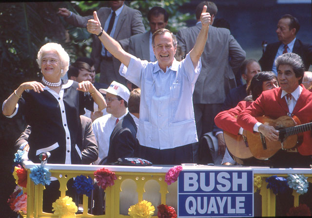 Barbara and George H.W. Bush wave to supporters before attending a rally at Arneson River Theater, August 25, 1988. (San Antonio Light Collection, MS 359: L-7166-52)