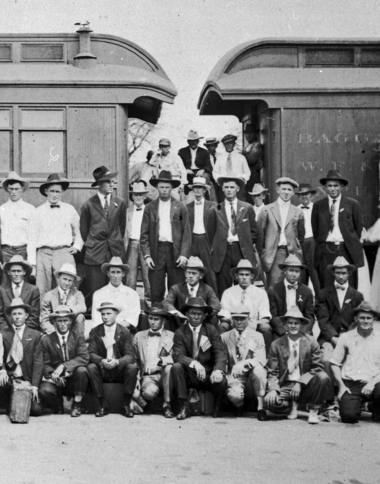 McCulloch County draftees shortly before departing for military service, Brady. (Detail of 078-0438. Courtesy of Wayne Spiller)
