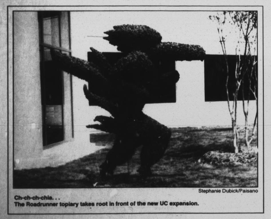Paisano picture of roadrunner topiary from September 24, 1996