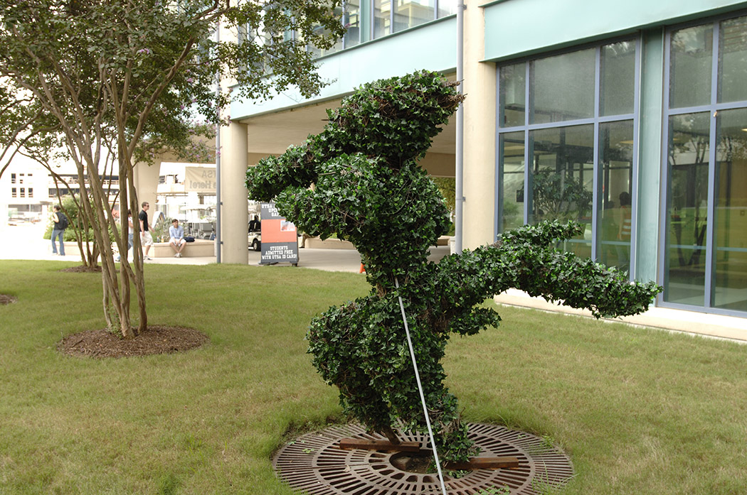 Rowdy topiary on the Student Union lawn, 2007