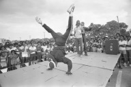 Break dancing competition at Juneteenth Festival, 2805 E. Commerce Street, June 19, 1984, SA Express News Photography Collection, MS 360