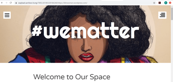 #wematter opening page showing a drawing of a black woman with natural hair with the hashtag superimposed in white over her face.