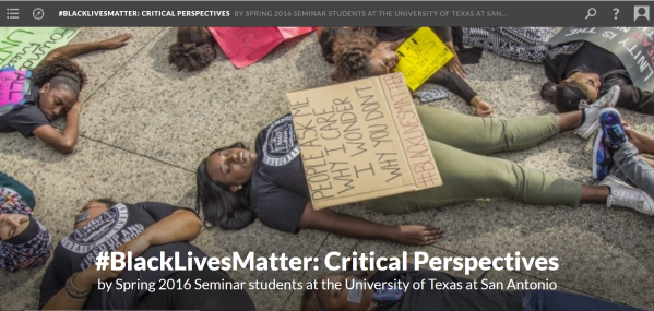 Front page of class website showing class title in white superimposed over photo of black students laying down on the ground holding protest signs