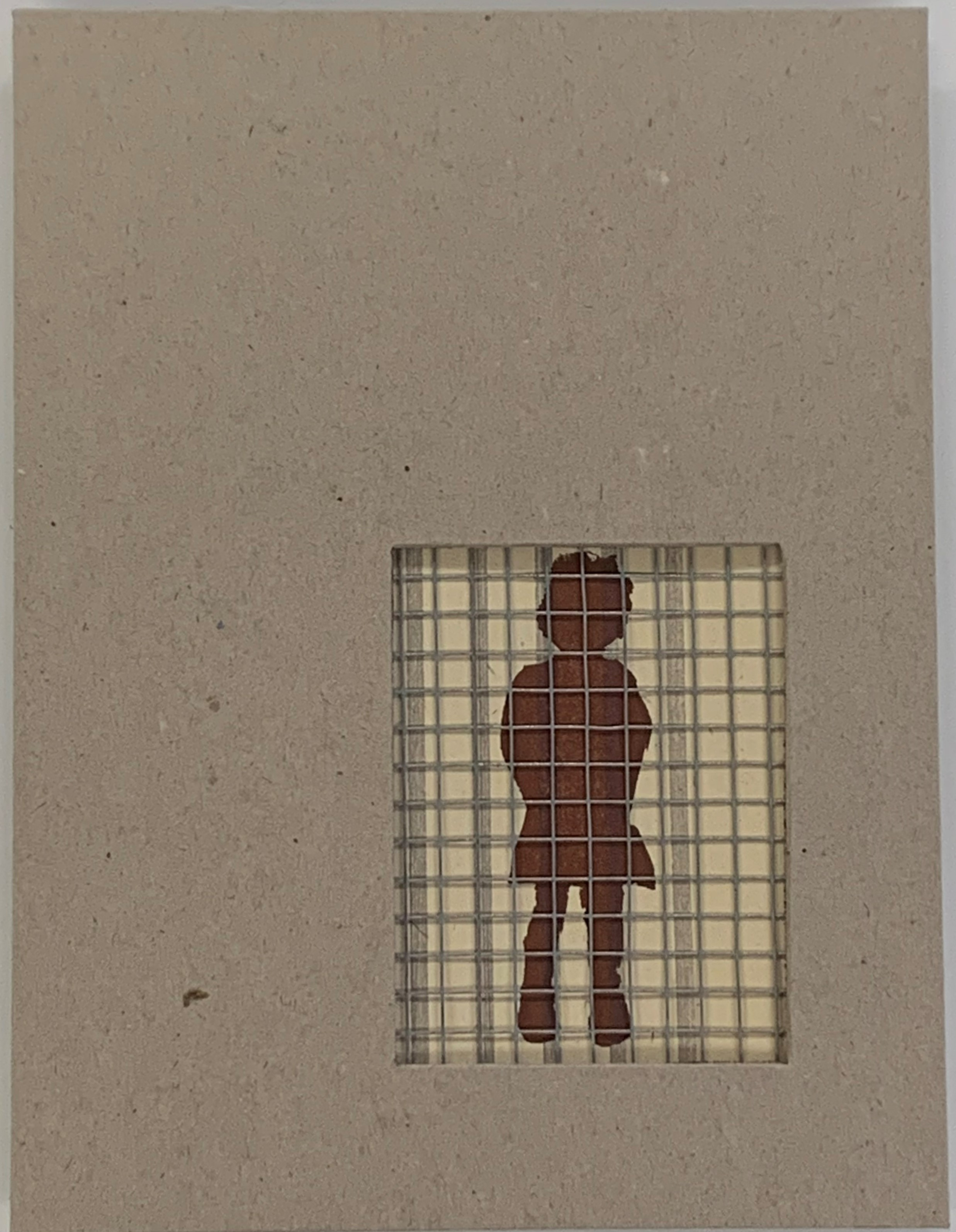 tan book cover with a rectangle cut out of the lower right corner; within the cutout is section of metal fencing with the burnt umber silhouette of a small girl